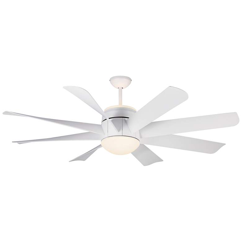 "56"" Monte Carlo Turbine Matte White LED Ceiling Fan"