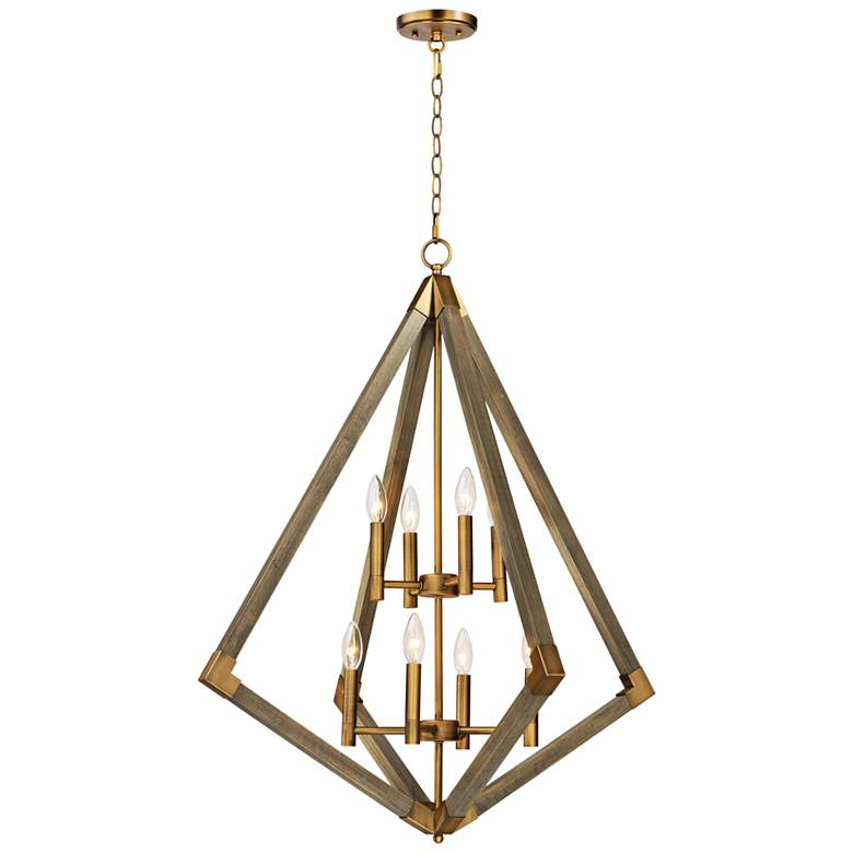 "Vector 30"" Wide Weathered Oak w/ Antique Brass Pendant Light"