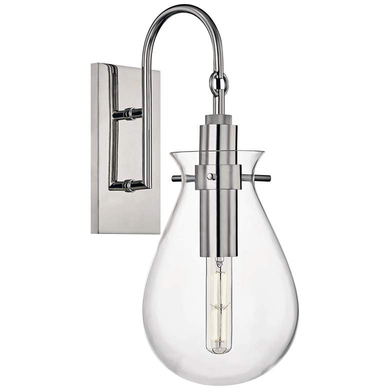 """Ivy 18""""H Polished Nickel LED Wall Sconce with Clear Glass"""