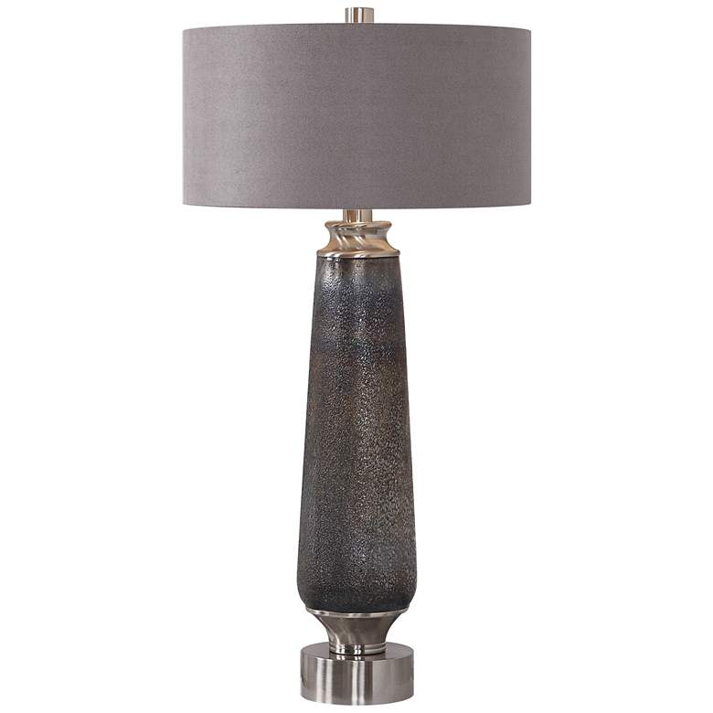 Lolita Motted Deep Gray and Rust Copper Glass Table Lamp