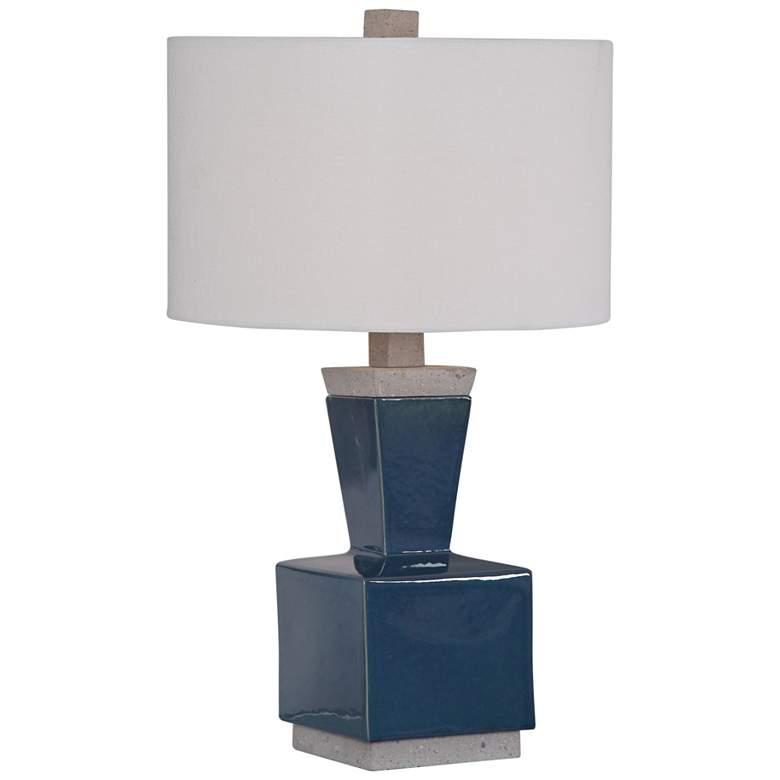 Jorris Deep Blue Glaze Ceramic Minimalist Table Lamp