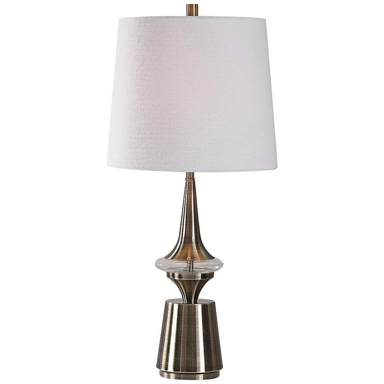 Alverson Lightly Antiqued Plated Brass Spun Metal Table Lamp
