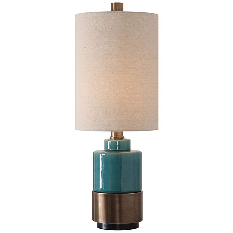 Uttermost Rema Bright Turquoise Glaze Ceramic Table Lamp
