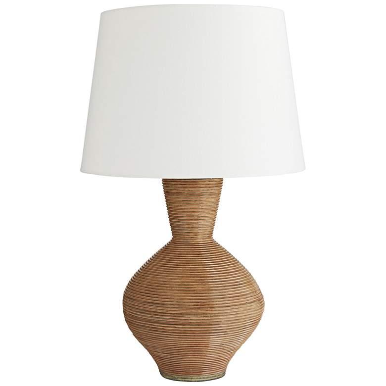 Potter Salmon Hand-Made Stripe Vase Terracotta Table Lamp