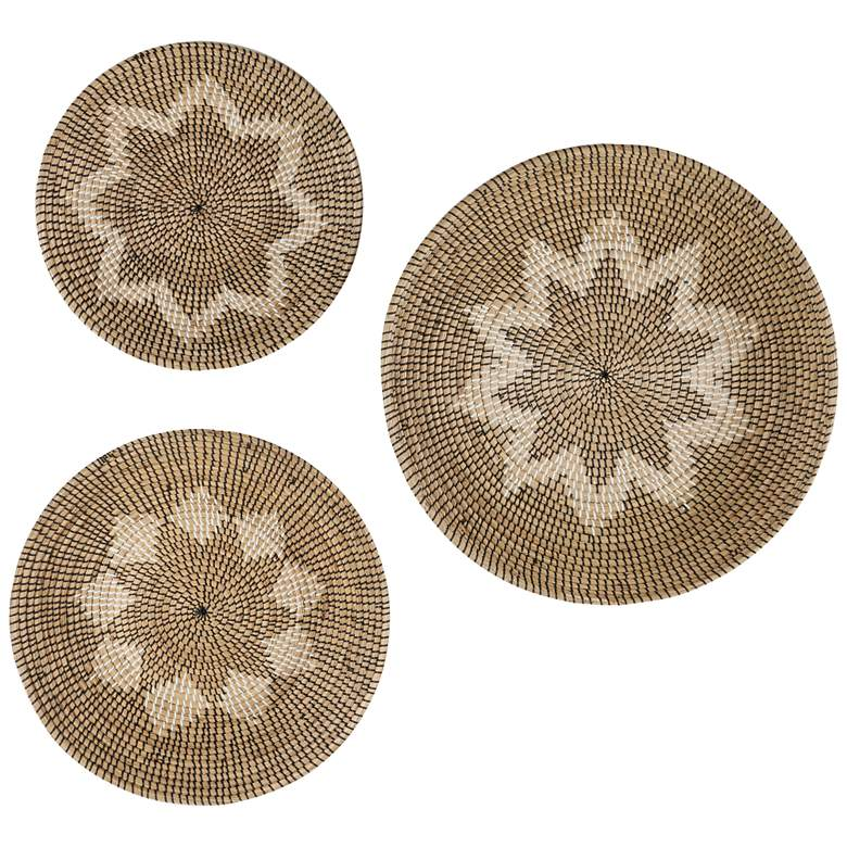 Brown and Beige Star Seagrass 3-Piece Round Wall Art Set