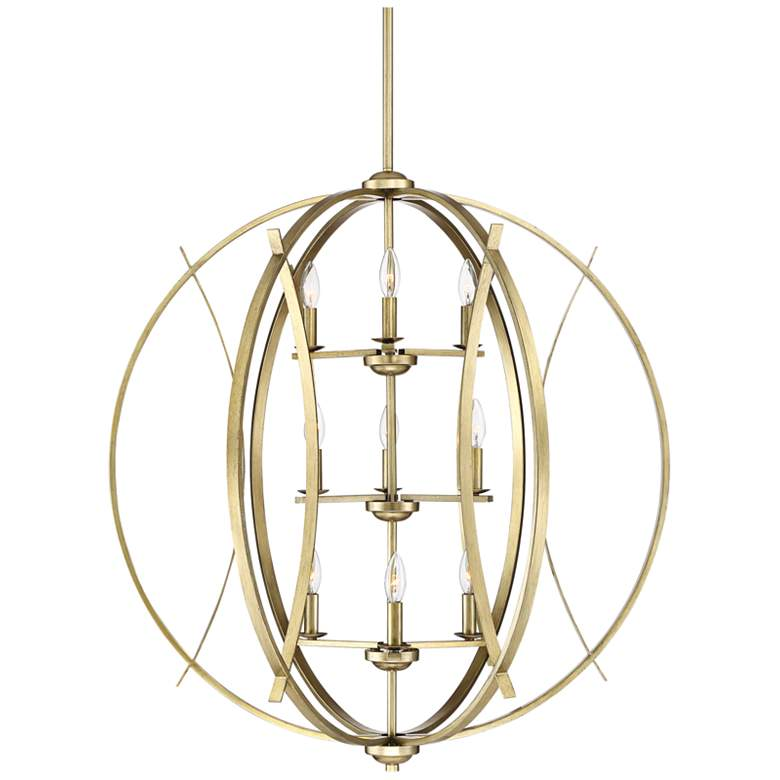 "Possini Euro Spherical 34"" Wide Antique Gold 9-Light Pendant"