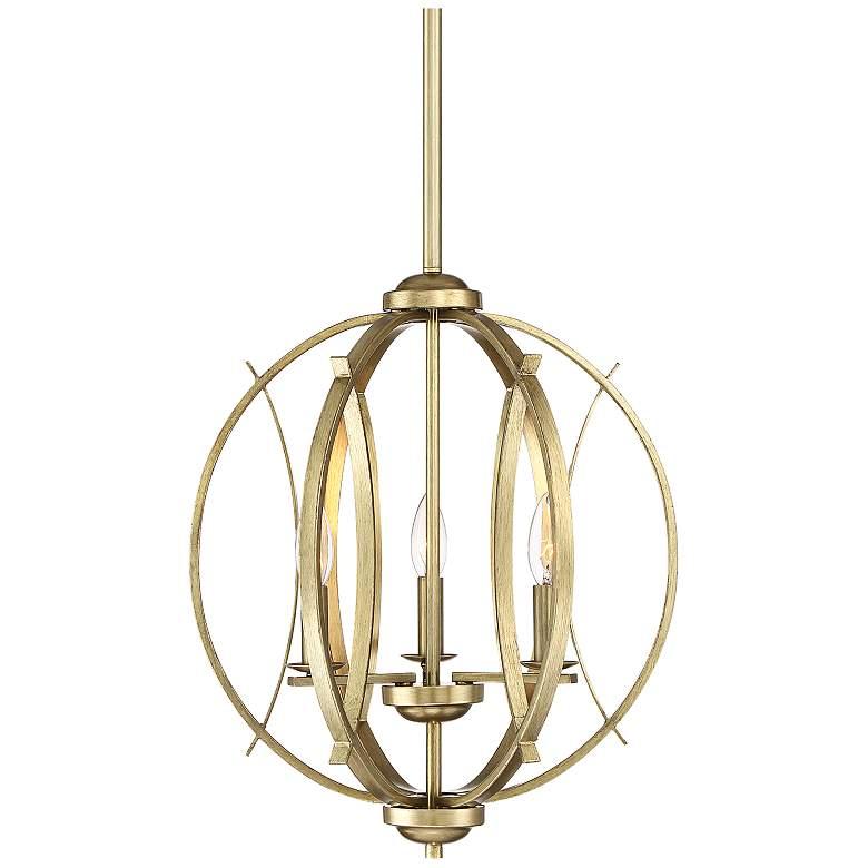 "Possini Euro Spherical 16""W Antique Gold 3-Light Pendant"