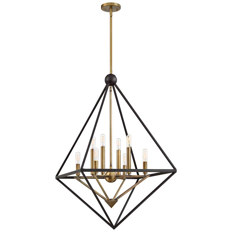 "Louvre 29""W Western Bronze and Brass 8-Light Foyer Pendant"