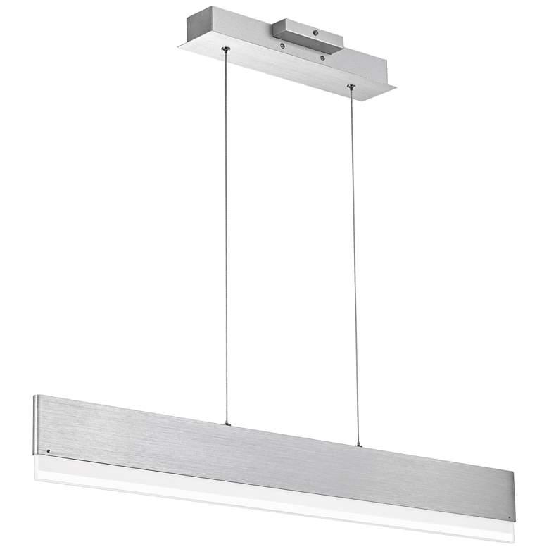 """Quoizel Cutlas 36"""" Wide Brushed Aluminum LED Island Pendant"""