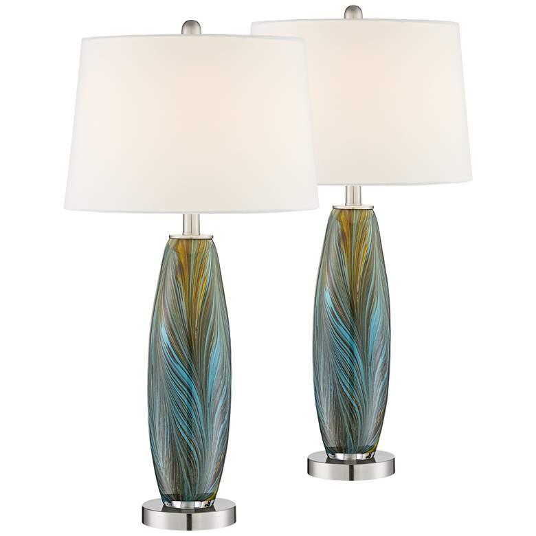 Azure Art Glass Table Lamps Set of 2