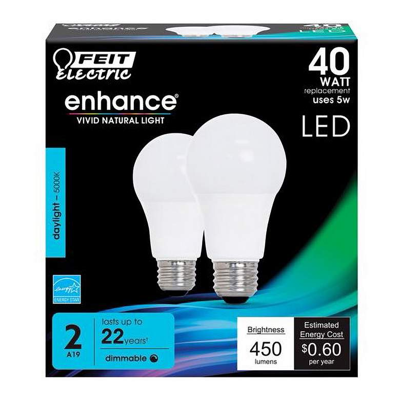 40W Equivalent Frosted 5W LED Dimmable Standard 2-Pack