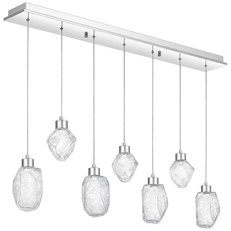 "Hailstone 41 3/4""W Polished Chrome LED Multi Light Pendant"