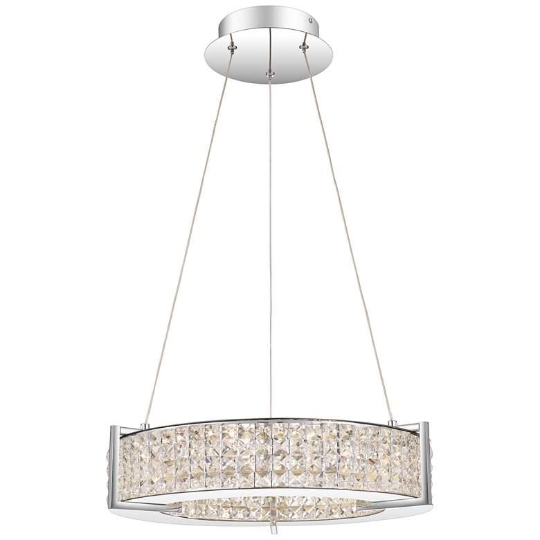 "Virtue 19"" Wide Polished Chrome LED Crystal Pendant Light"