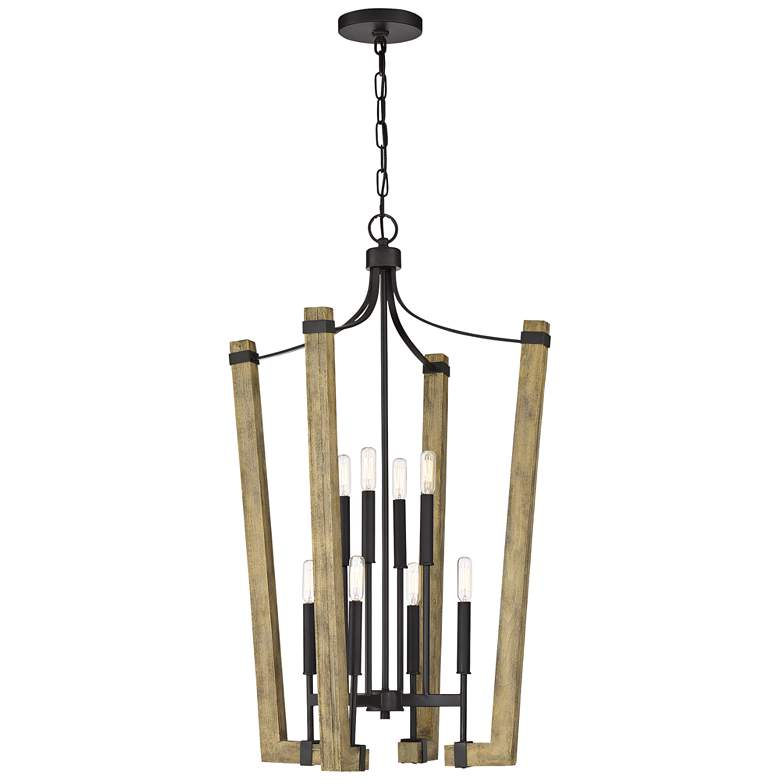 "Plains 22 1/4""W Wood w/ Western Bronze 8-Light Foyer Pendant"