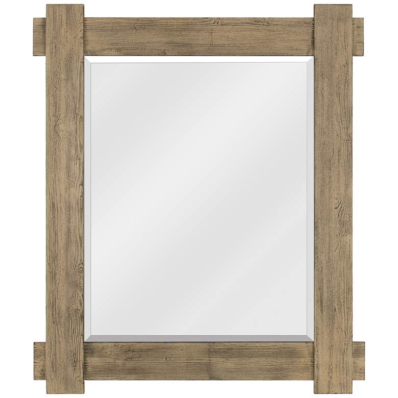 "Quoizel Safford Wood 34 3/4"" x 40 3/4"" Wall Mirror"