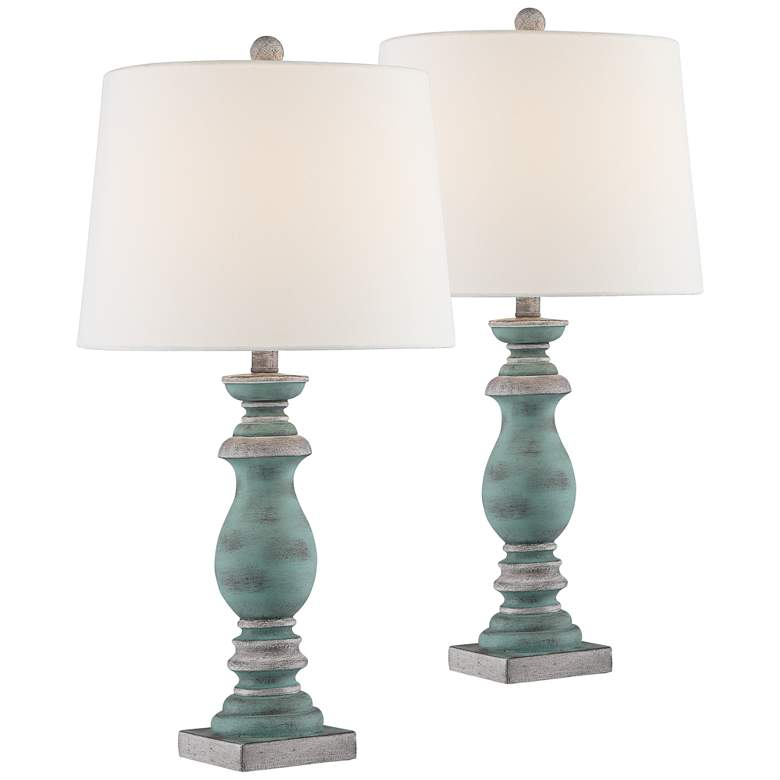 Pasty Blue-Gray Washed Table Lamps Set of 2