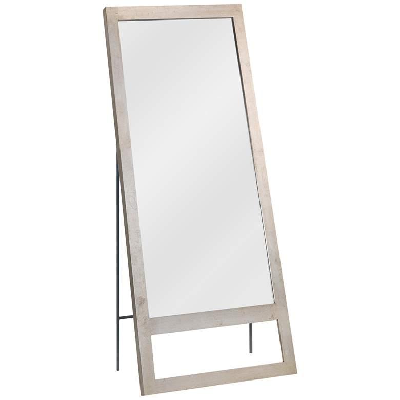 "Austere Champagne Leaf 30"" x 70 1/2"" Floor Mirror"
