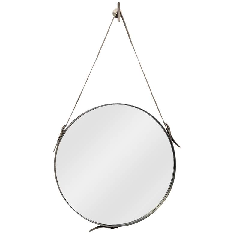 """Antique Silver with Gray Hide Strap 26"""" x 43"""" Wall Mirror"""