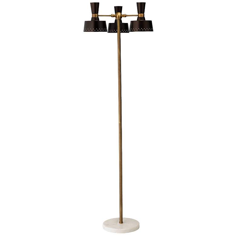 Trey Oil-Rubbed Bronze and Antique Brass 3-Light Floor Lamp