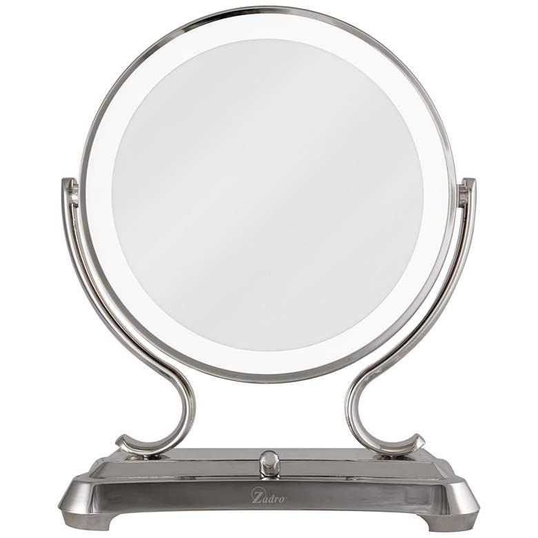 Fluorescent Glamour Polished Nickel Vanity Mirror