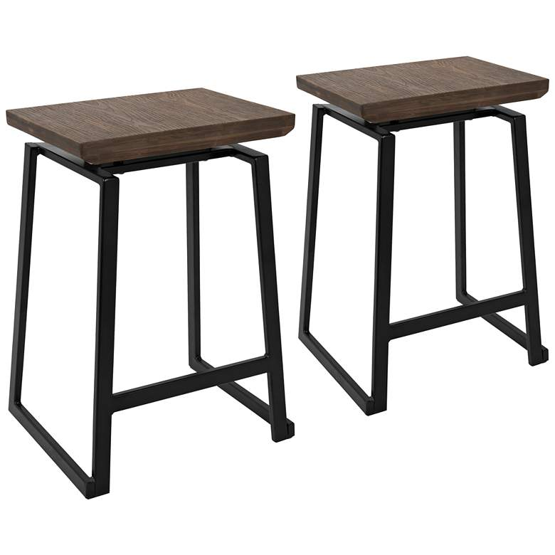 """Geo 24 1/4"""" Black with Brown Wood Counter Stools Set of 2"""