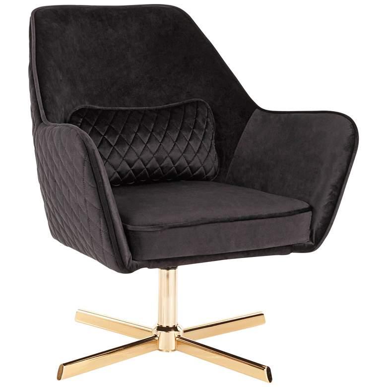 Diana Black Velvet and Gold Metal Swivel Lounge Chair