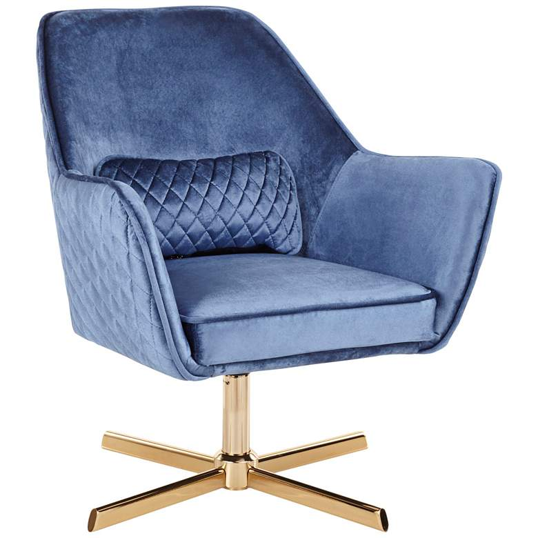 Diana Blue Velvet and Gold Metal Swivel Lounge Chair