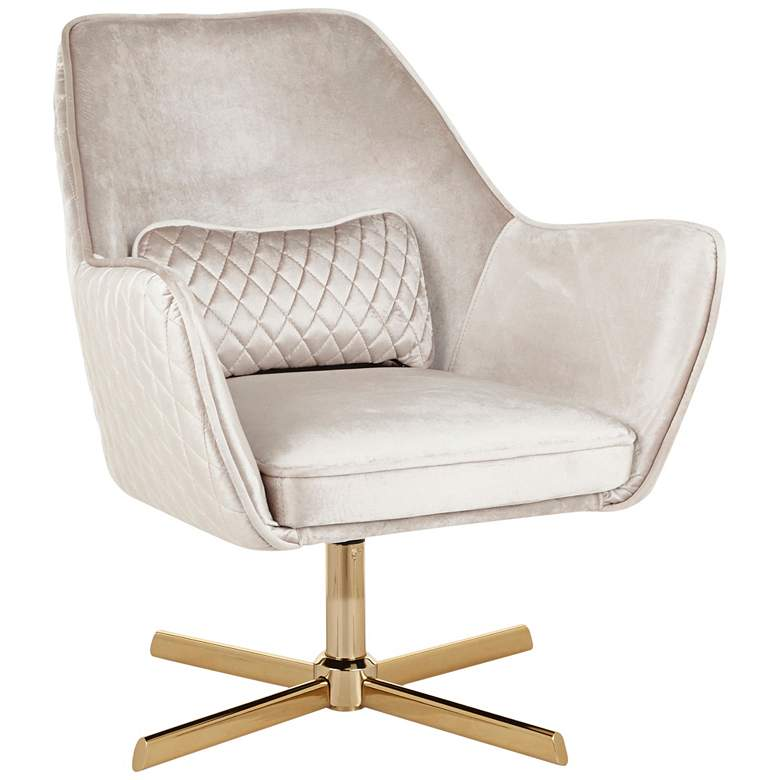 Diana Champagne Velvet and Gold Metal Swivel Lounge Chair