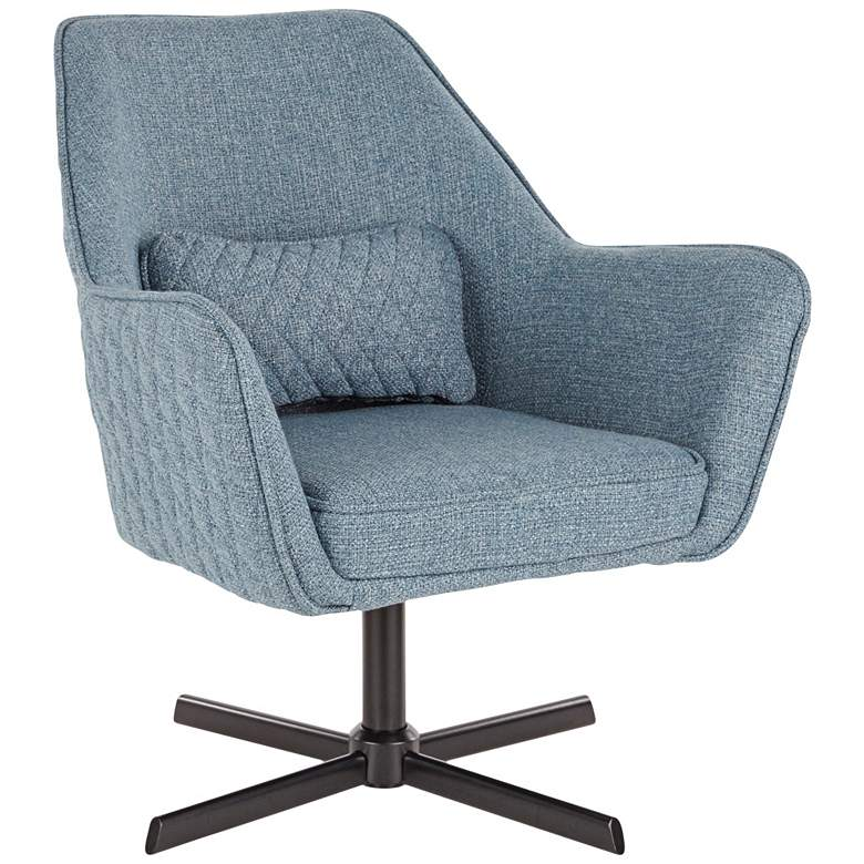 Diana Blue Noise Fabric and Black Metal Swivel Lounge Chair