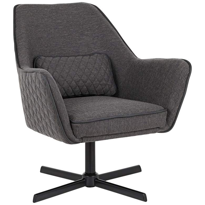 Diana Charcoal Fabric and Black Metal Swivel Lounge Chair