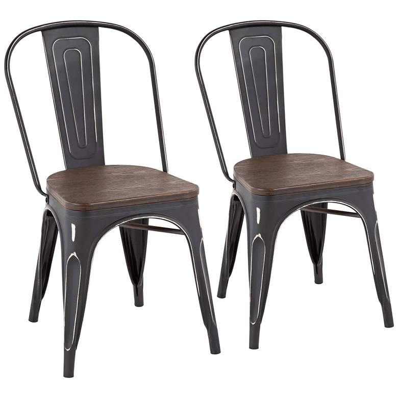Oregon Vintage Black Metal Stackable Dining Chairs Set of 2
