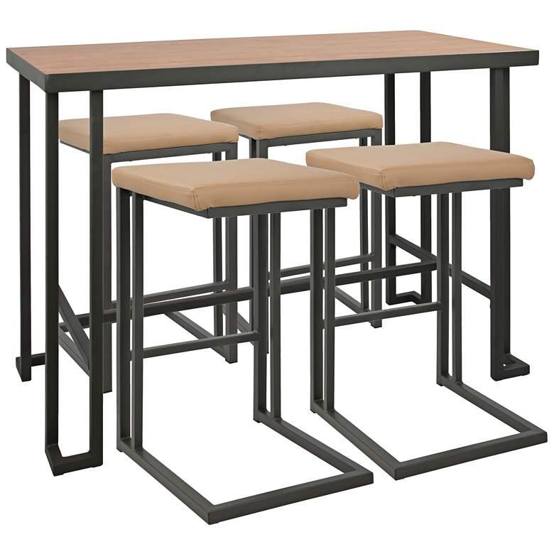 "Roman 48"" Wide Light Wood 5-Piece Counter Height Dining Set"
