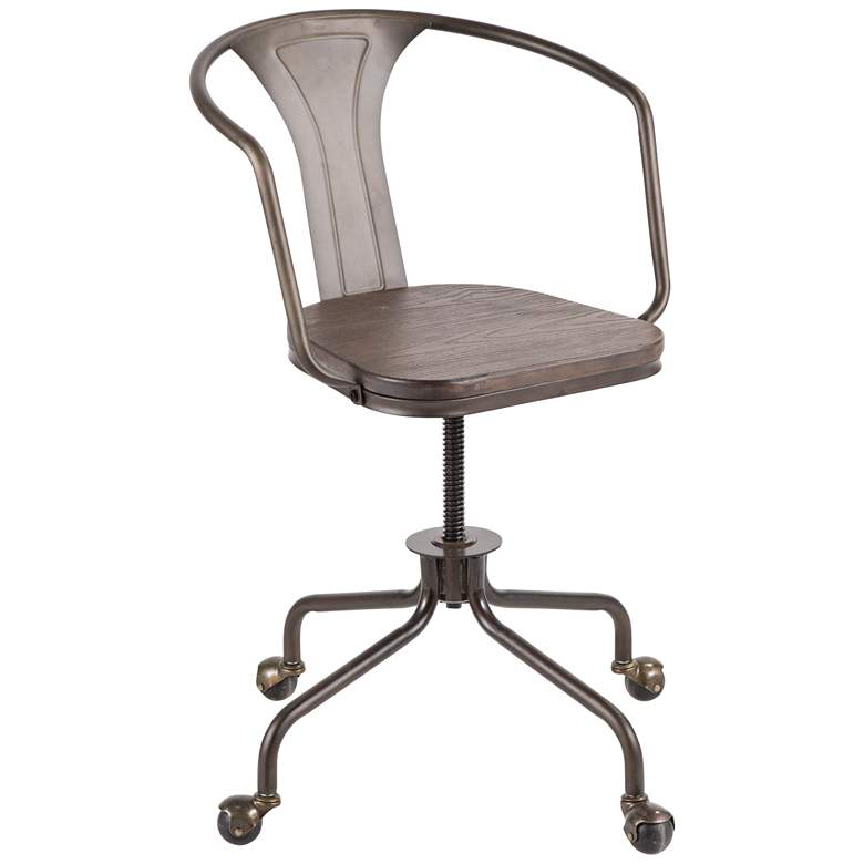 Oregon Antique Metal Swivel Adjustable Wheel Task Chair