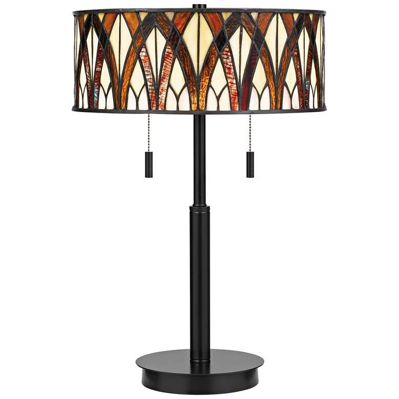 Quoizel Anastasia Earth Black Tiffany-Style Table Lamp