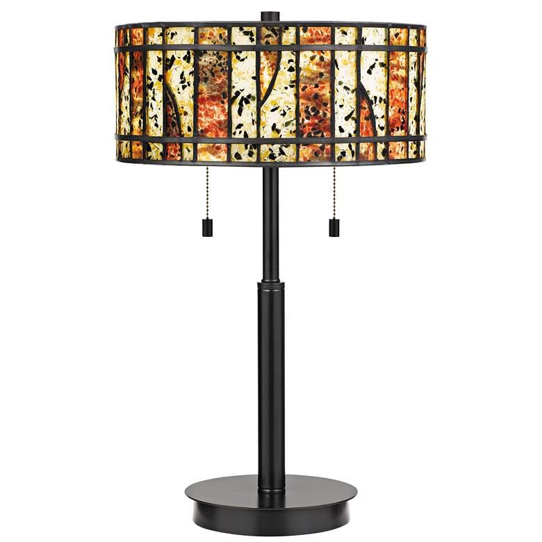 Quoizel Dawes Earth Black Tiffany-Style Table Lamp
