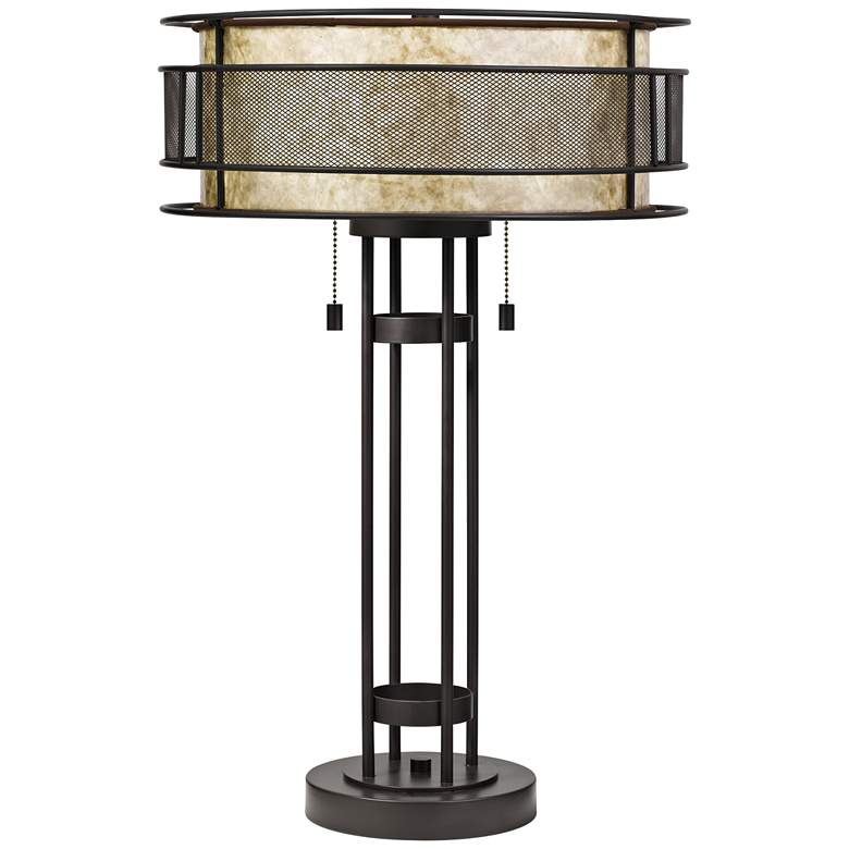 Quoizel Mica Western Bronze Double Shade Table Lamp