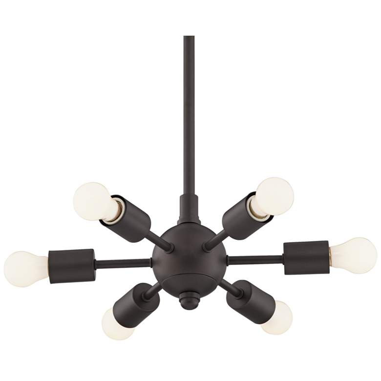"Favreau 14 1/2""W Bronze 6-Light Sputnik Pendant with White Bulbs"