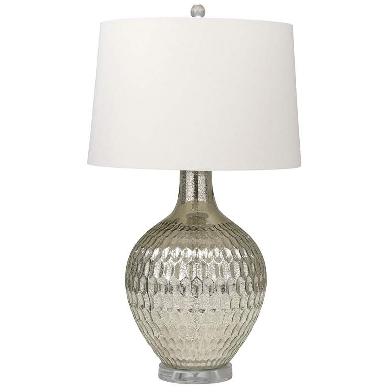 Cairo Hammered Silver Mercury Glass Vase Table Lamp