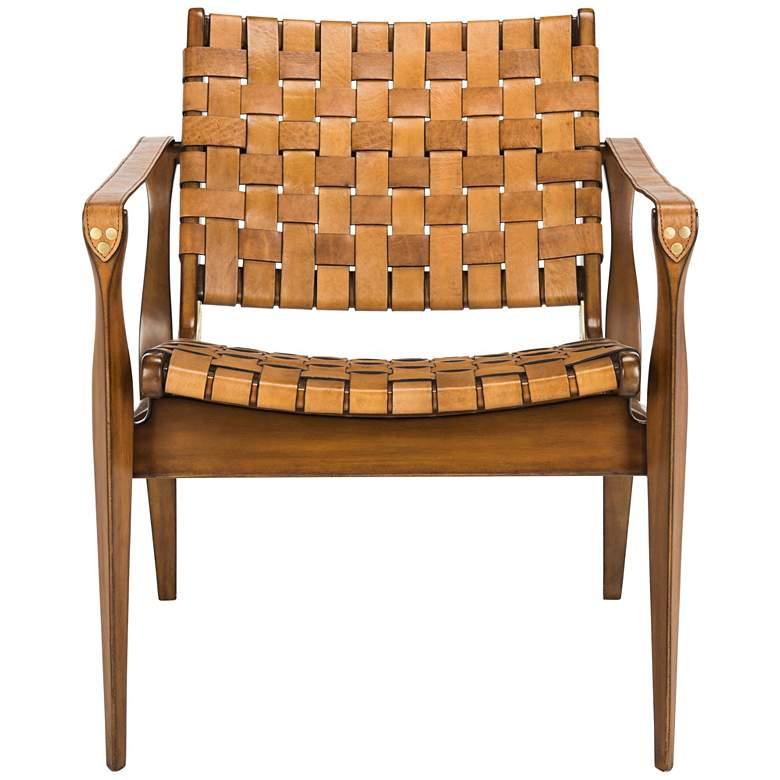 Safavieh Dilan Safari Woven Leather Straps Armchair