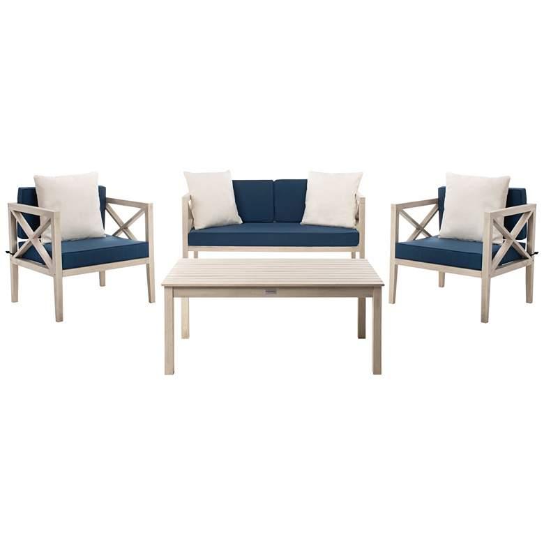 Safavieh Nunzio White Wood 4-Piece Outdoor Seating Set