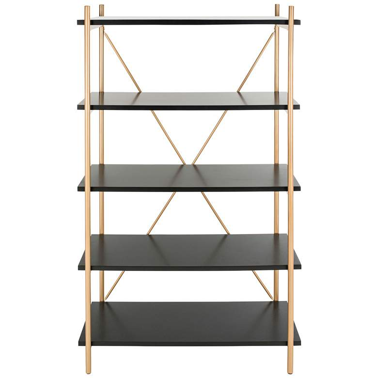 "Rigby 72"" High Black and Gold Modern Etagere"