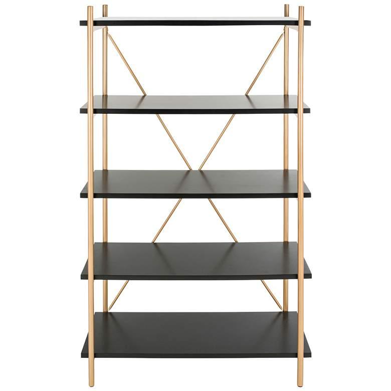 "Rigby 72"" High Black and Gold Modern Etagere Shelf"