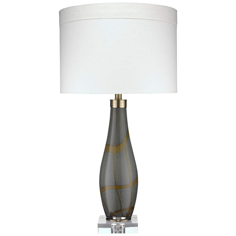 Jamie Young Boa Taupe Snake Skin Pattern Glass Table Lamp