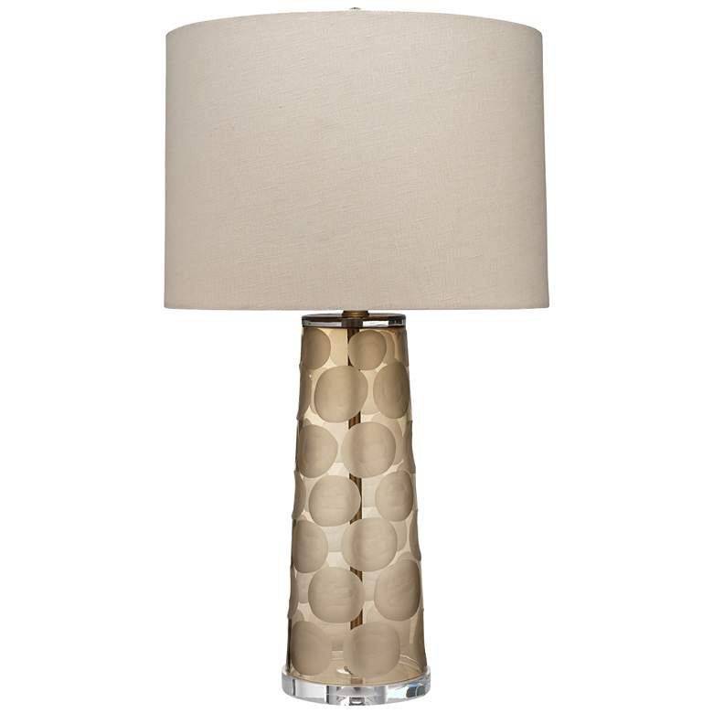 Jamie Young Pebble Taupe Etched Mouth-Blown Glass Table Lamp