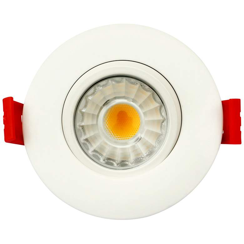 "Canless 3"" Round Gimbal White 8 Watt LED 5 Color Adjustable Downlight"