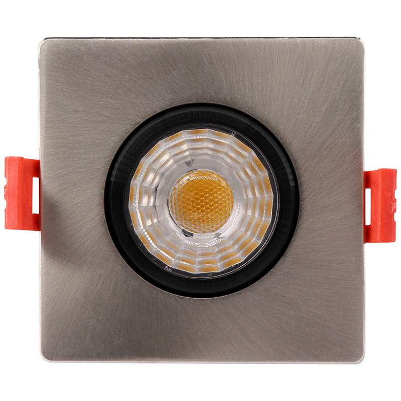 "Canless 3"" Square Gimbal Brushed Nickel 8W LED Downlight"
