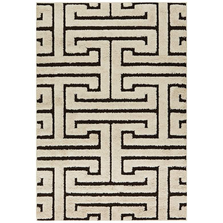 "Loloi Enchant 5'3""x7'7"" Ivory and Dark Brown Geometric"