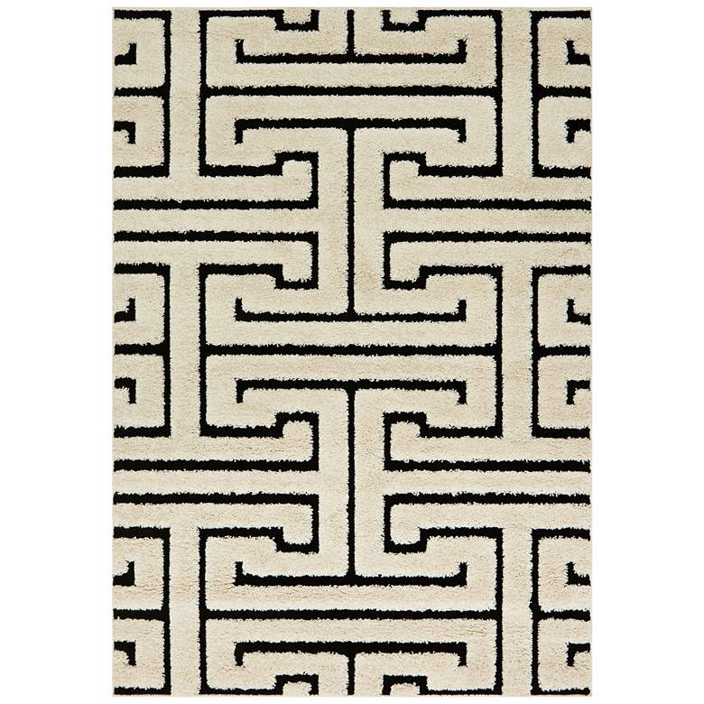 "Loloi Enchant 5'3""x7'7"" White and Black Geometric Rug"