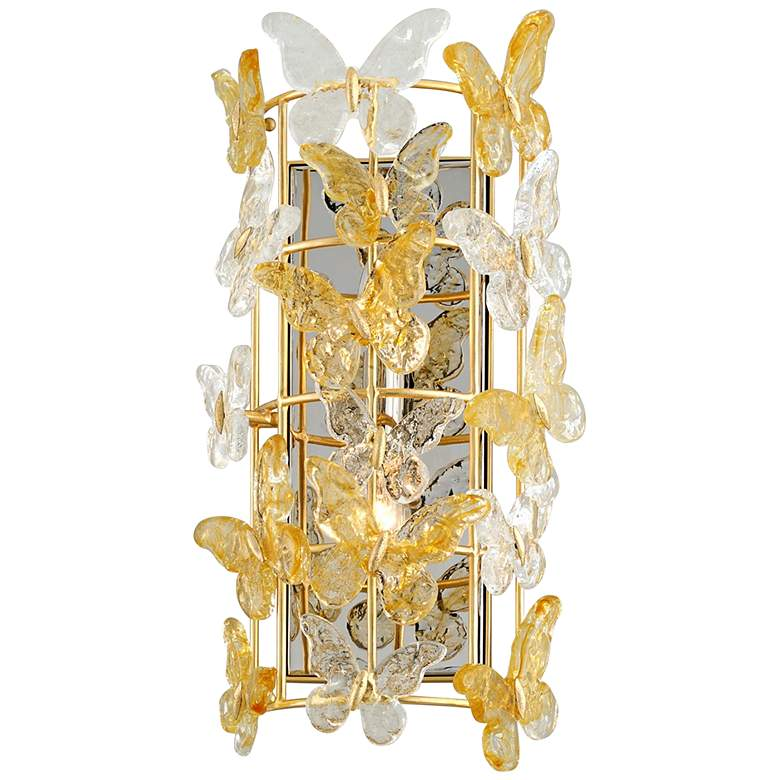 "Milan 19 3/4"" High Gold Leaf Sconce w/ Glass Butterfly Shade"