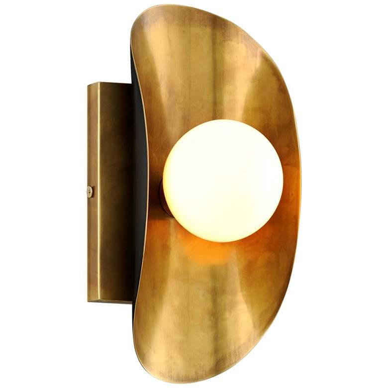 "Corbett Hopper 10"" High Vintage Brass Wall Sconce"